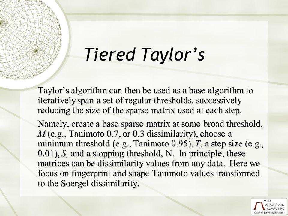 Tiered Taylors Taylors algorithm can then be used as a base algorithm to iteratively span a set of regular thresholds, successively reducing the size of the sparse matrix used at each step.