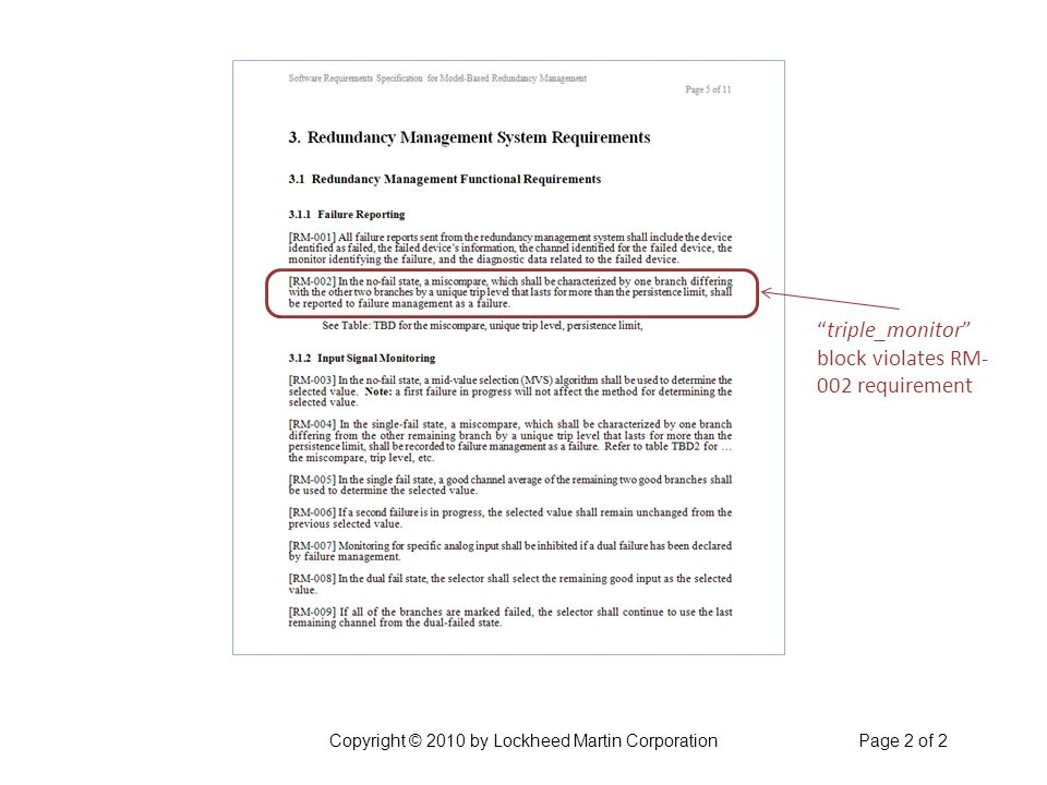 triple_monitor block violates RM- 002 requirement Copyright © 2010 by Lockheed Martin CorporationPage 2 of 2