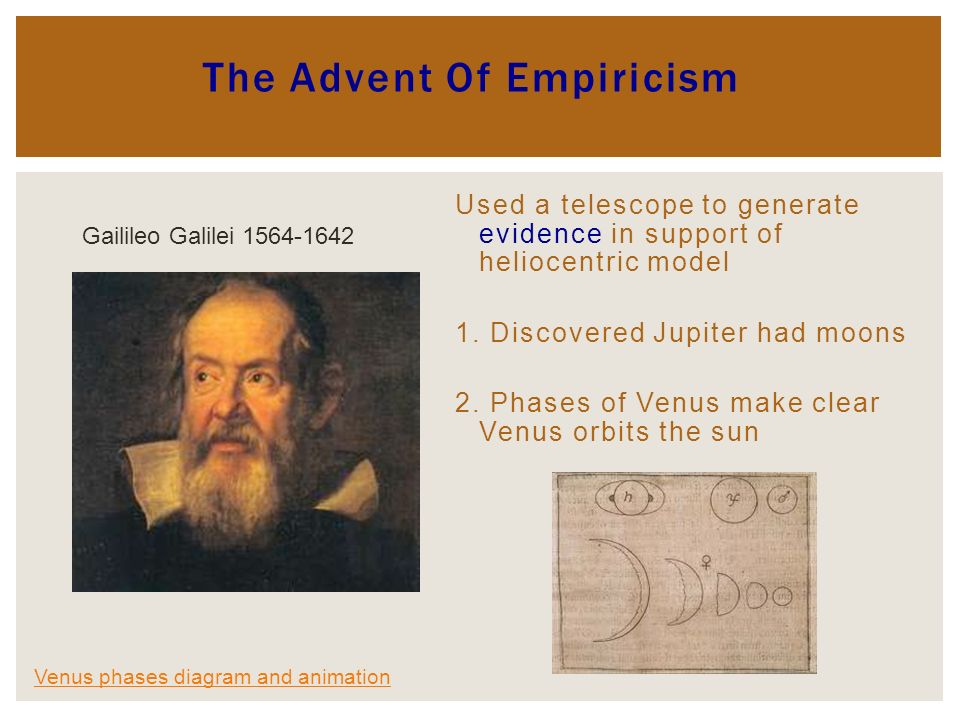 The Advent Of Empiricism Used a telescope to generate evidence in support of heliocentric model 1.
