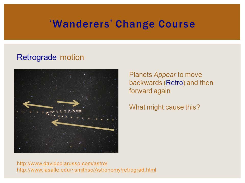 Wanderers Change Course Retrograde motion http://www.davidcolarusso.com/astro/ http://www.lasalle.edu/~smithsc/Astronomy/retrograd.html Planets Appear to move backwards (Retro) and then forward again What might cause this