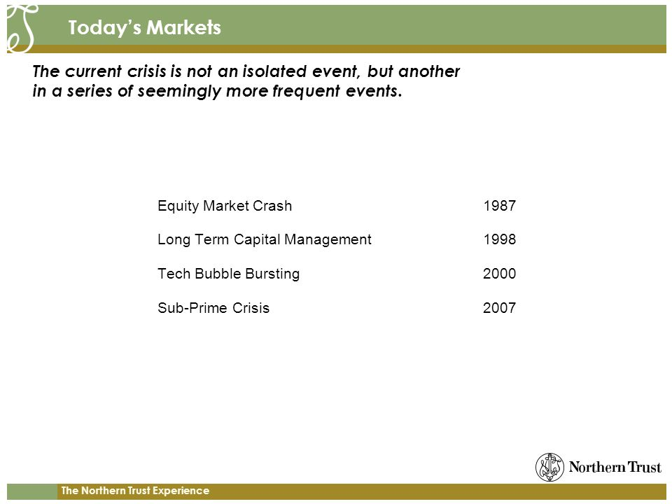 The Northern Trust Experience Todays Markets Equity Market Crash1987 Long Term Capital Management1998 Tech Bubble Bursting2000 Sub-Prime Crisis2007 The current crisis is not an isolated event, but another in a series of seemingly more frequent events.