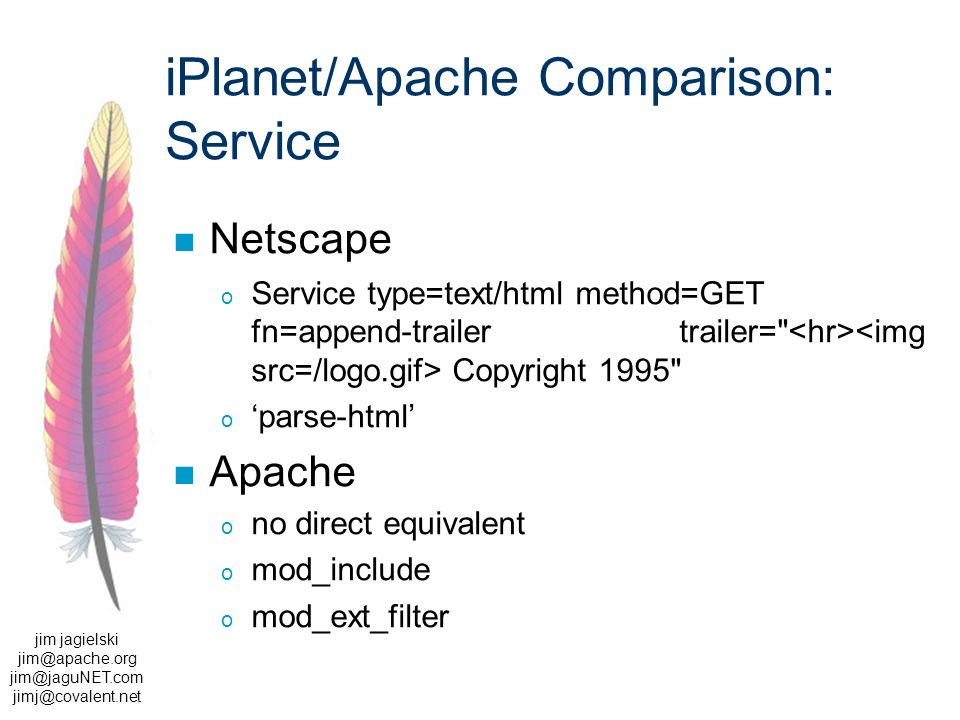 jim jagielski  iPlanet/Apache Comparison: Service Netscape o Service type=text/html method=GET fn=append-trailer trailer= Copyright 1995 o parse-html Apache o no direct equivalent o mod_include o mod_ext_filter