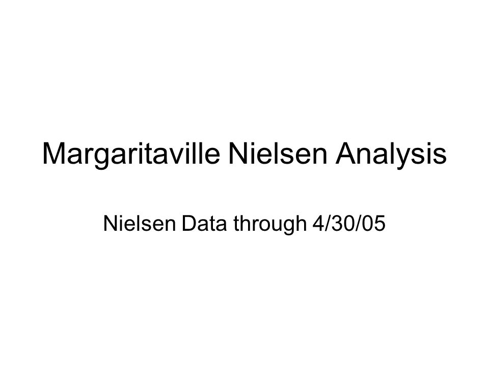 Margaritaville Nielsen Analysis Nielsen Data through 4/30/05