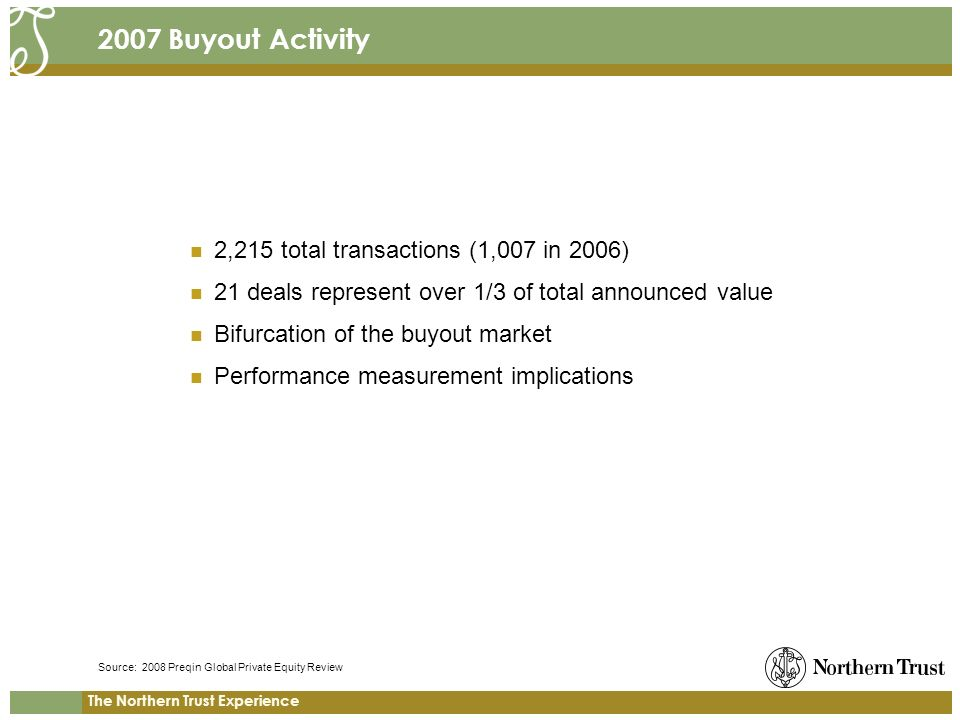 The Northern Trust Experience 2007 Buyout Activity 2,215 total transactions (1,007 in 2006) 21 deals represent over 1/3 of total announced value Bifurcation of the buyout market Performance measurement implications Source: 2008 Preqin Global Private Equity Review