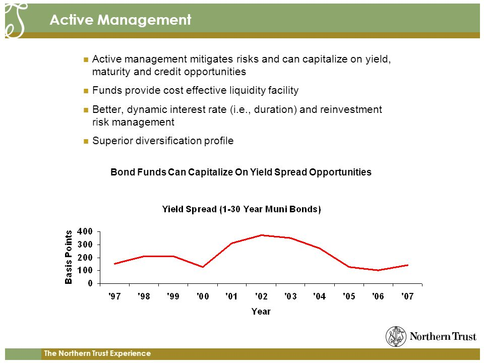 The Northern Trust Experience Active Management Active management mitigates risks and can capitalize on yield, maturity and credit opportunities Funds provide cost effective liquidity facility Better, dynamic interest rate (i.e., duration) and reinvestment risk management Superior diversification profile Bond Funds Can Capitalize On Yield Spread Opportunities
