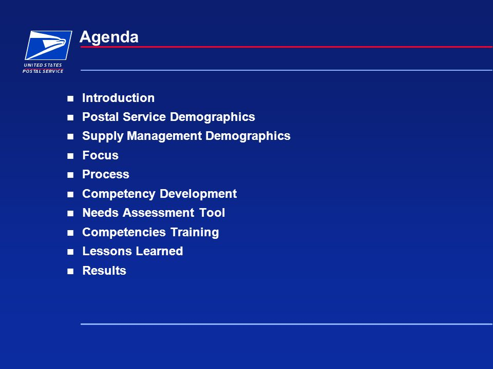 Agenda Introduction Postal Service Demographics Supply Management Demographics Focus Process Competency Development Needs Assessment Tool Competencies Training Lessons Learned Results