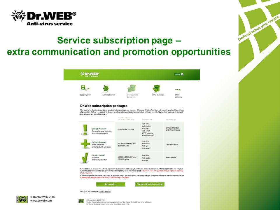 Service subscription page – extra communication and promotion opportunities