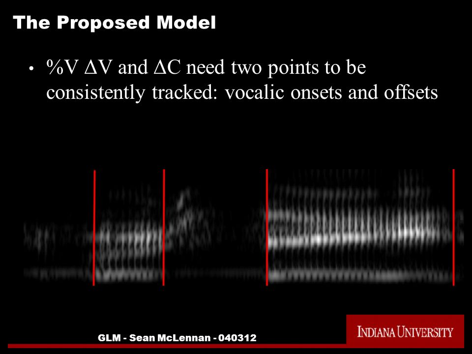 GLM - Sean McLennan The Proposed Model %V ΔV and ΔC need two points to be consistently tracked: vocalic onsets and offsets