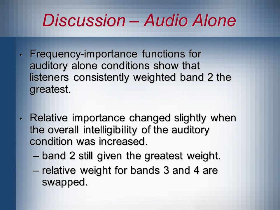 Discussion – Audio Alone Frequency-importance functions for auditory alone conditions show that listeners consistently weighted band 2 the greatest.
