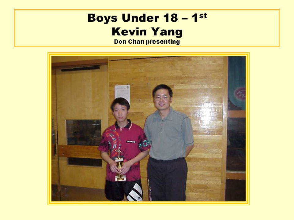 Boys Under 18 – 1 st Kevin Yang Don Chan presenting