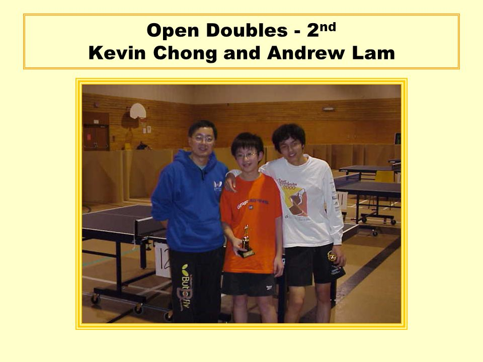 Open Doubles - 2 nd Kevin Chong and Andrew Lam