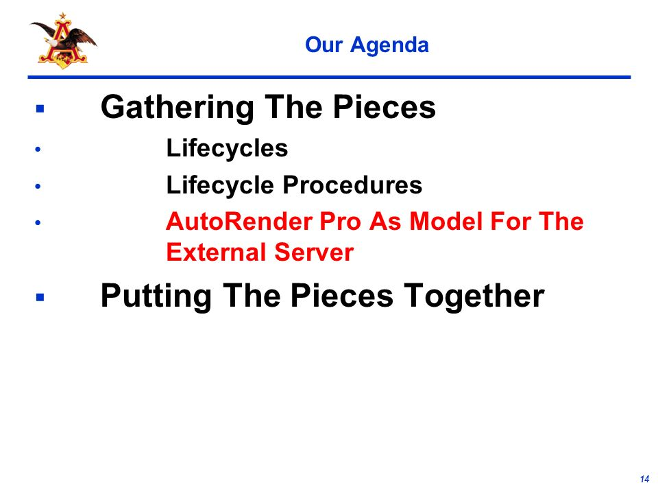 14 Our Agenda Gathering The Pieces Lifecycles Lifecycle Procedures AutoRender Pro As Model For The External Server Putting The Pieces Together