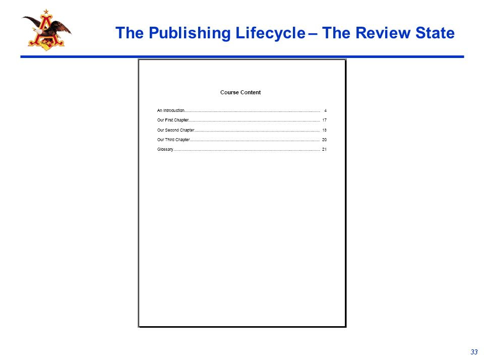 33 The Publishing Lifecycle – The Review State
