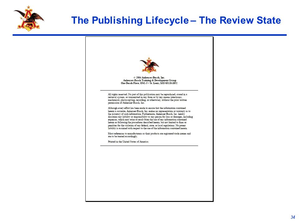 34 The Publishing Lifecycle – The Review State