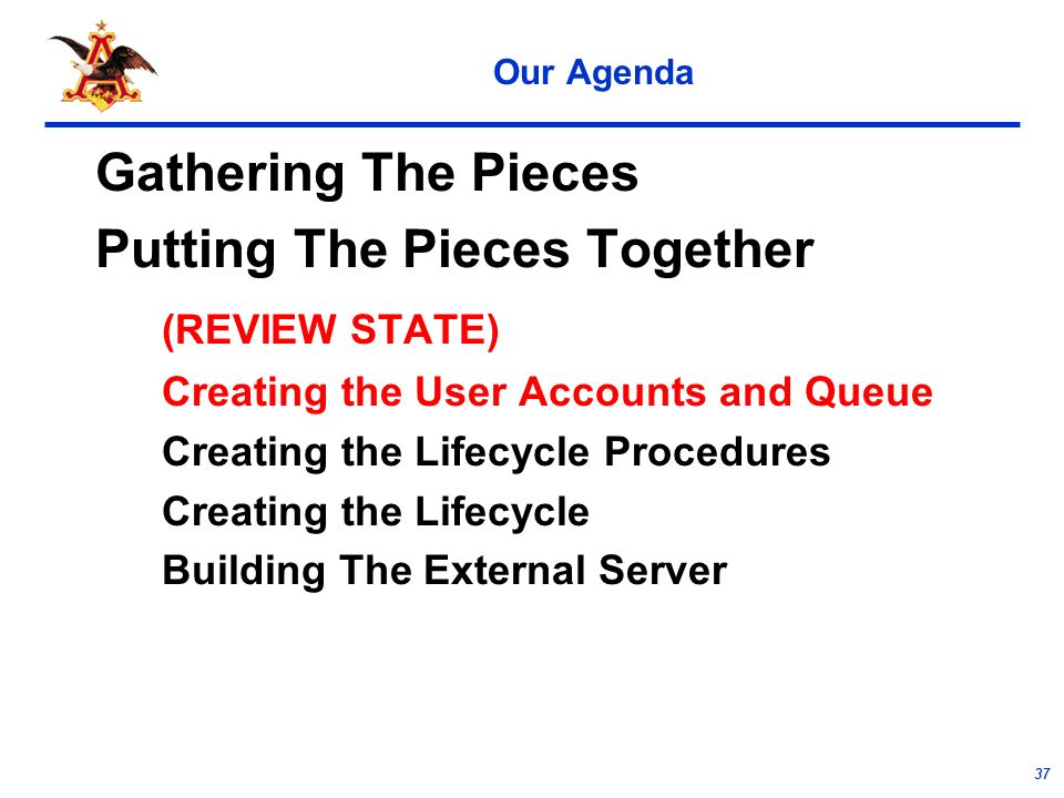 37 Our Agenda Gathering The Pieces Putting The Pieces Together (REVIEW STATE) Creating the User Accounts and Queue Creating the Lifecycle Procedures Creating the Lifecycle Building The External Server