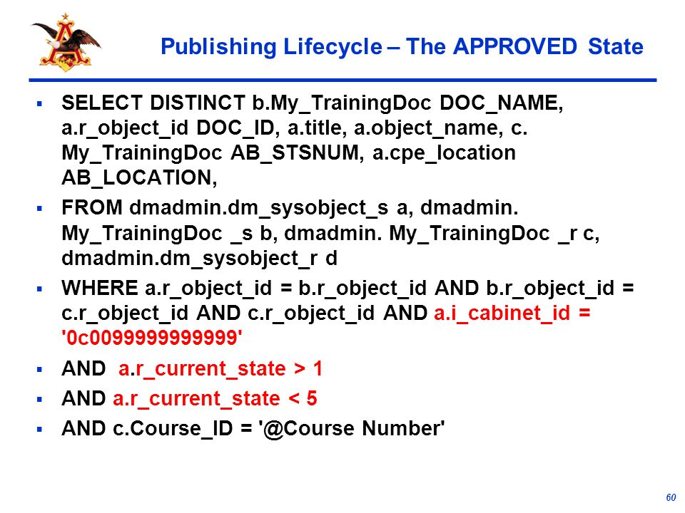 60 Publishing Lifecycle – The APPROVED State SELECT DISTINCT b.My_TrainingDoc DOC_NAME, a.r_object_id DOC_ID, a.title, a.object_name, c.