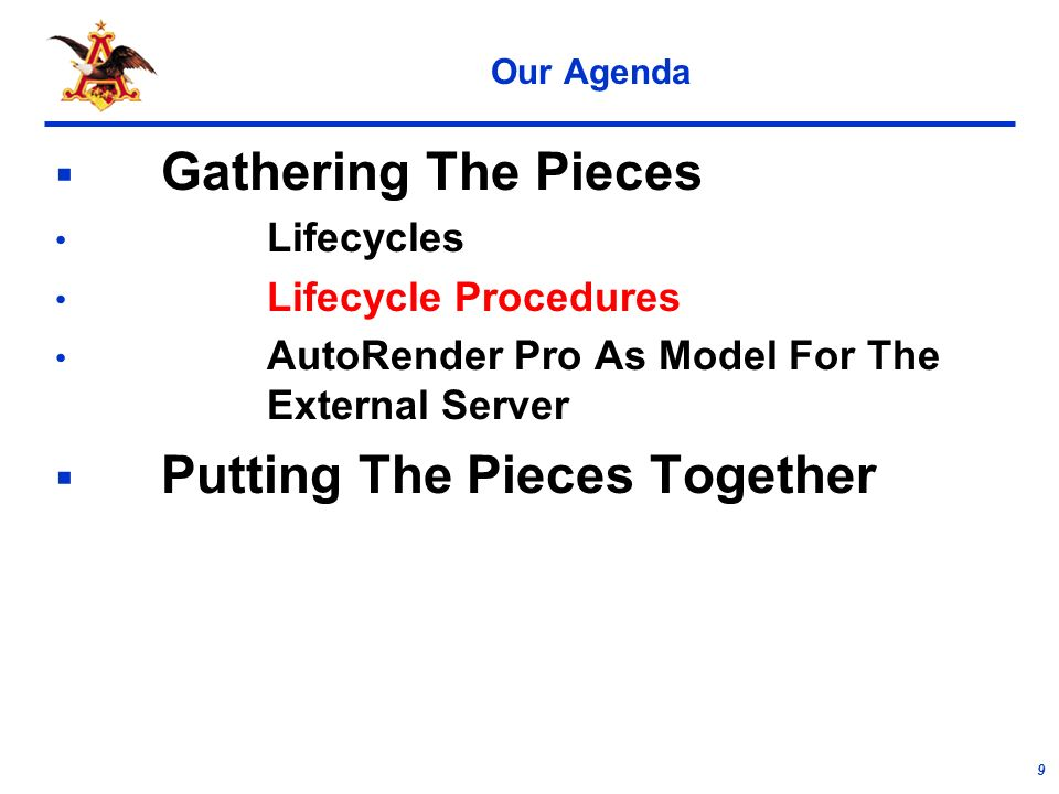 9 Our Agenda Gathering The Pieces Lifecycles Lifecycle Procedures AutoRender Pro As Model For The External Server Putting The Pieces Together