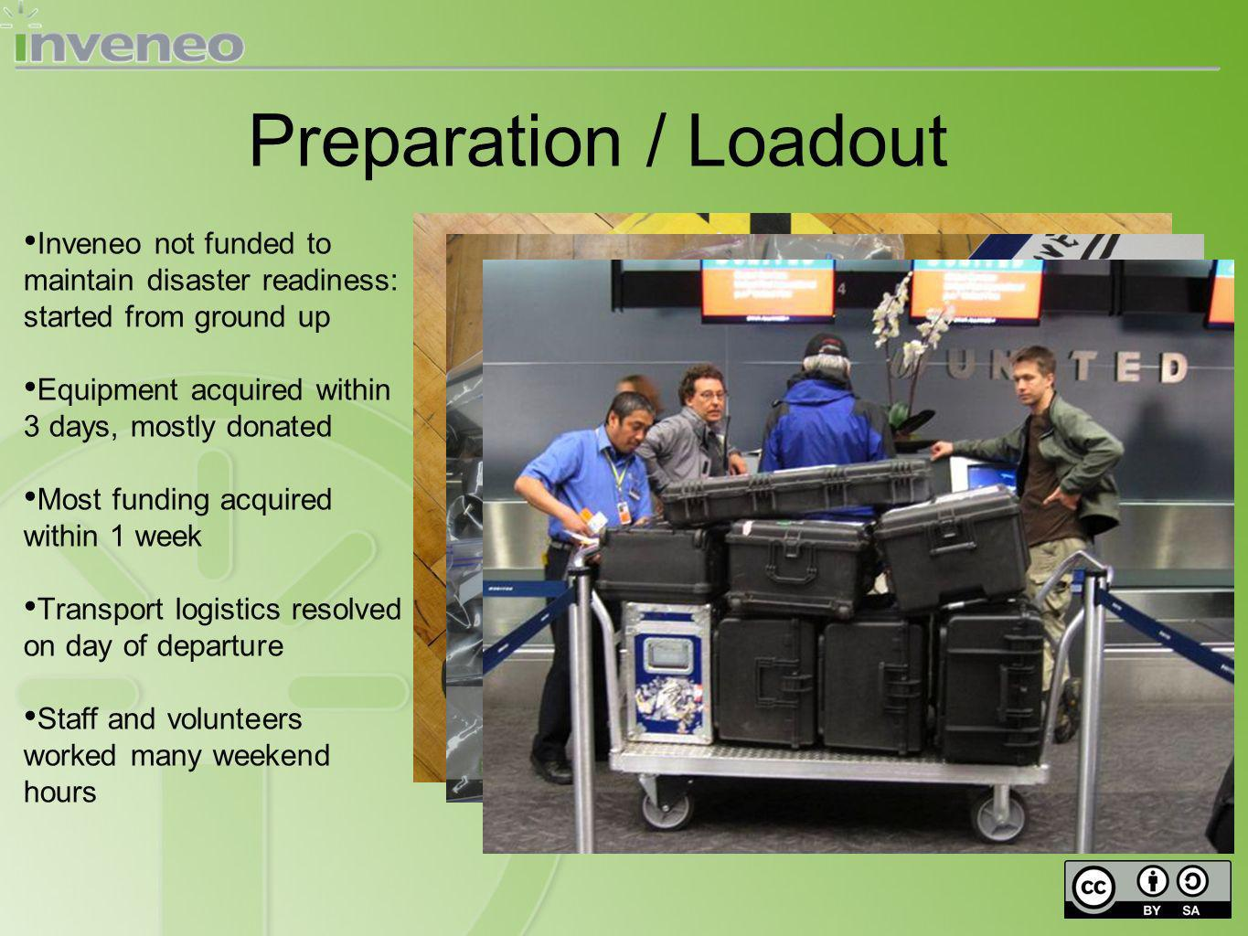 Preparation / Loadout Inveneo not funded to maintain disaster readiness: started from ground up Equipment acquired within 3 days, mostly donated Most funding acquired within 1 week Transport logistics resolved on day of departure Staff and volunteers worked many weekend hours