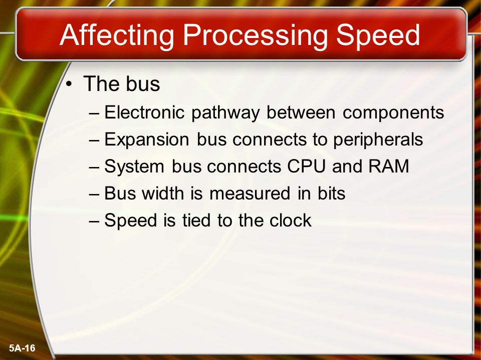 5A-16 Affecting Processing Speed The bus –Electronic pathway between components –Expansion bus connects to peripherals –System bus connects CPU and RAM –Bus width is measured in bits –Speed is tied to the clock