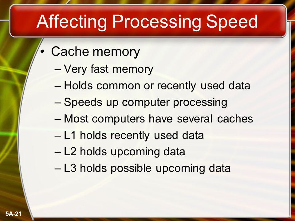 5A-21 Affecting Processing Speed Cache memory –Very fast memory –Holds common or recently used data –Speeds up computer processing –Most computers have several caches –L1 holds recently used data –L2 holds upcoming data –L3 holds possible upcoming data