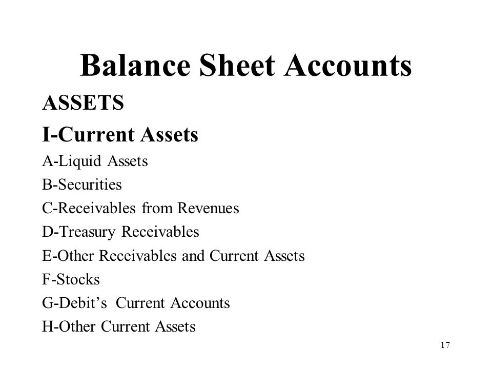 17 Balance Sheet Accounts ASSETS I-Current Assets A-Liquid Assets B-Securities C-Receivables from Revenues D-Treasury Receivables E-Other Receivables and Current Assets F-Stocks G-Debits Current Accounts H-Other Current Assets
