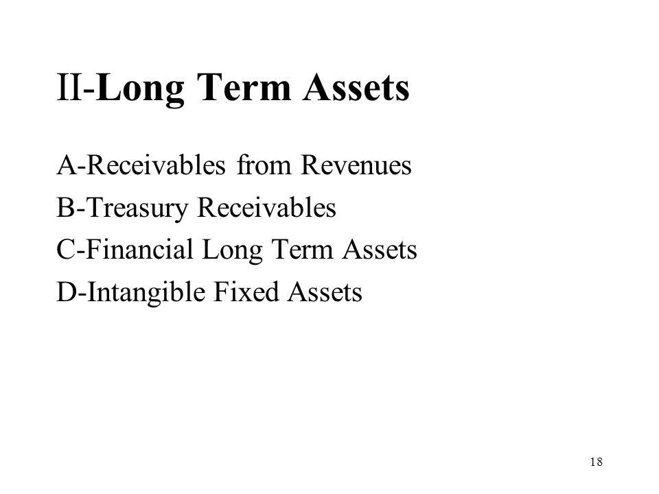 18 II-Long Term Assets A-Receivables from Revenues B-Treasury Receivables C-Financial Long Term Assets D-Intangible Fixed Assets