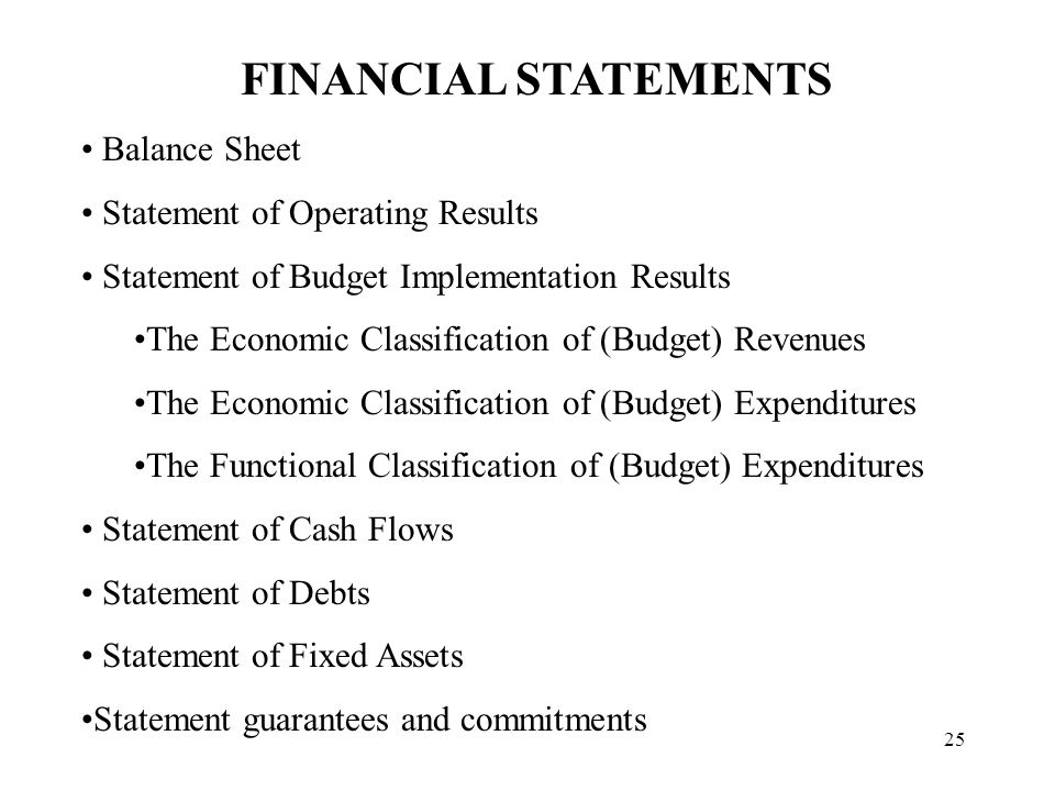 25 FINANCIAL STATEMENTS Balance Sheet Statement of Operating Results Statement of Budget Implementation Results The Economic Classification of (Budget) Revenues The Economic Classification of (Budget) Expenditures The Functional Classification of (Budget) Expenditures Statement of Cash Flows Statement of Debts Statement of Fixed Assets Statement guarantees and commitments