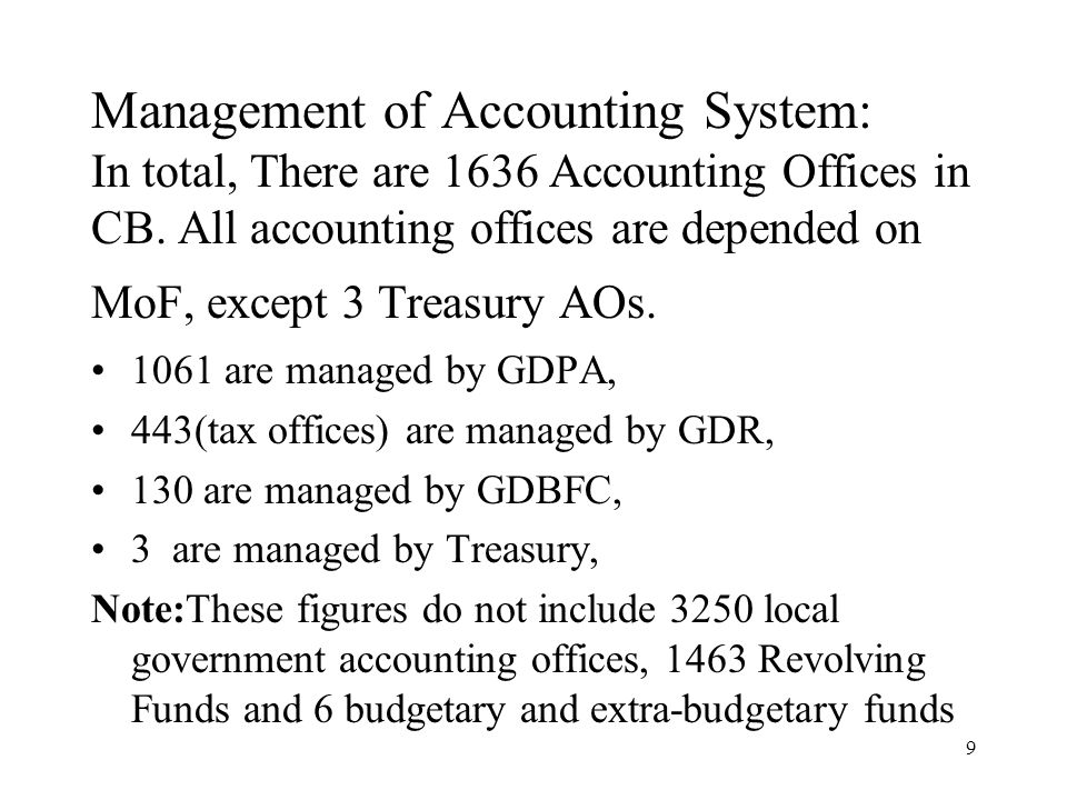 9 Management of Accounting System: In total, There are 1636 Accounting Offices in CB.
