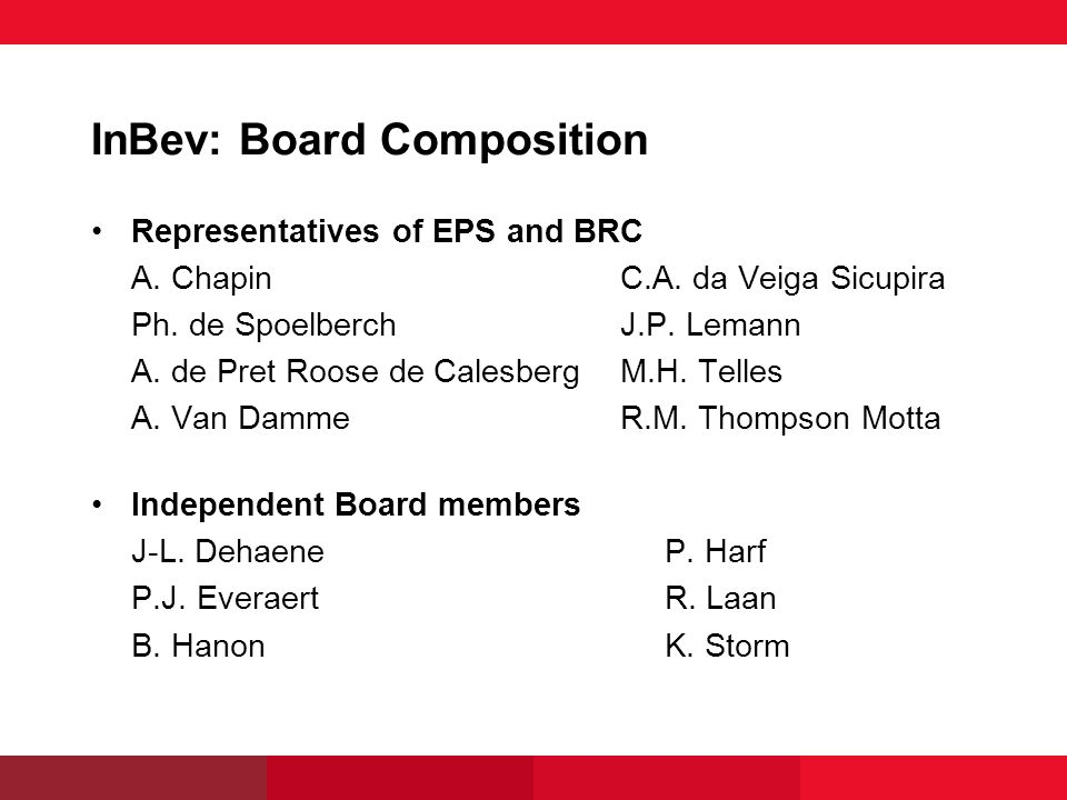 InBev: Board Composition Representatives of EPS and BRC A.