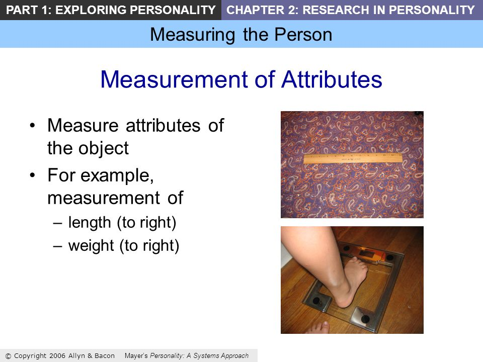 Measuring the Person © Copyright 2006 Allyn & Bacon Mayers Personality: A Systems Approach PART 1: EXPLORING PERSONALITYCHAPTER 2: RESEARCH IN PERSONALITY Measurement of Attributes Measure attributes of the object For example, measurement of –length (to right) –weight (to right)