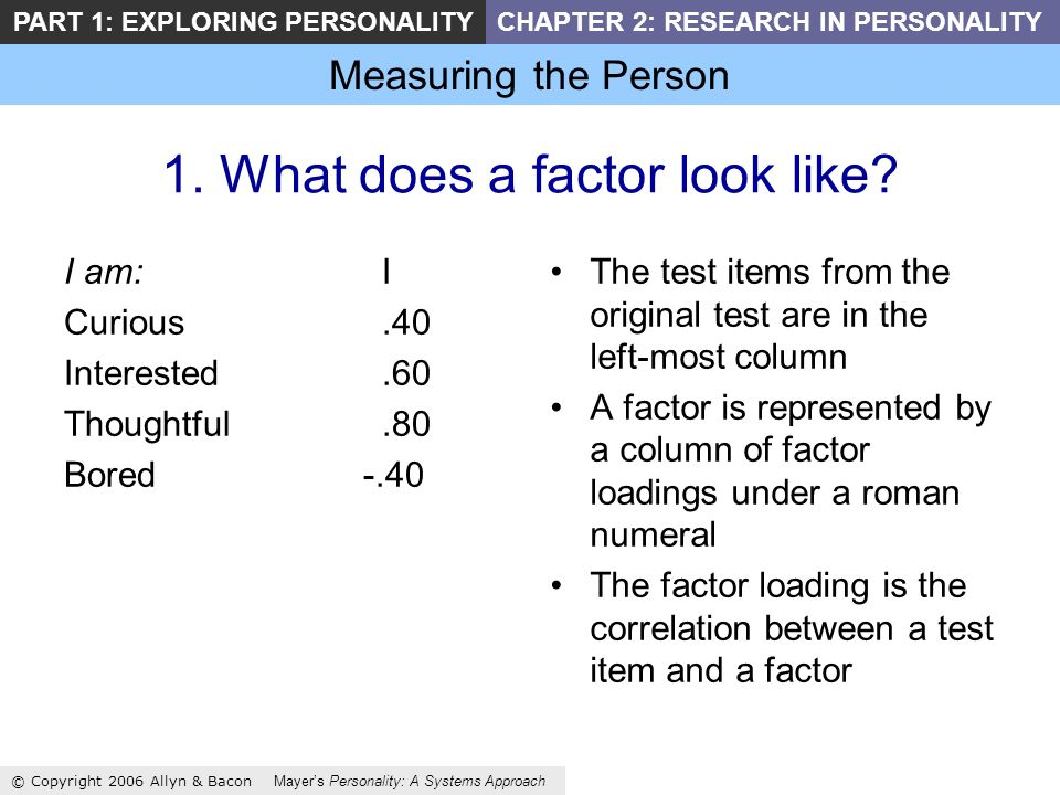 Measuring the Person © Copyright 2006 Allyn & Bacon Mayers Personality: A Systems Approach PART 1: EXPLORING PERSONALITYCHAPTER 2: RESEARCH IN PERSONALITY 1.
