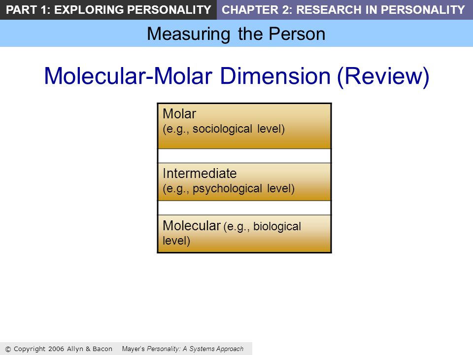 Measuring the Person © Copyright 2006 Allyn & Bacon Mayers Personality: A Systems Approach PART 1: EXPLORING PERSONALITYCHAPTER 2: RESEARCH IN PERSONALITY Molecular-Molar Dimension (Review) Molar (e.g., sociological level) Intermediate (e.g., psychological level) Molecular (e.g., biological level)