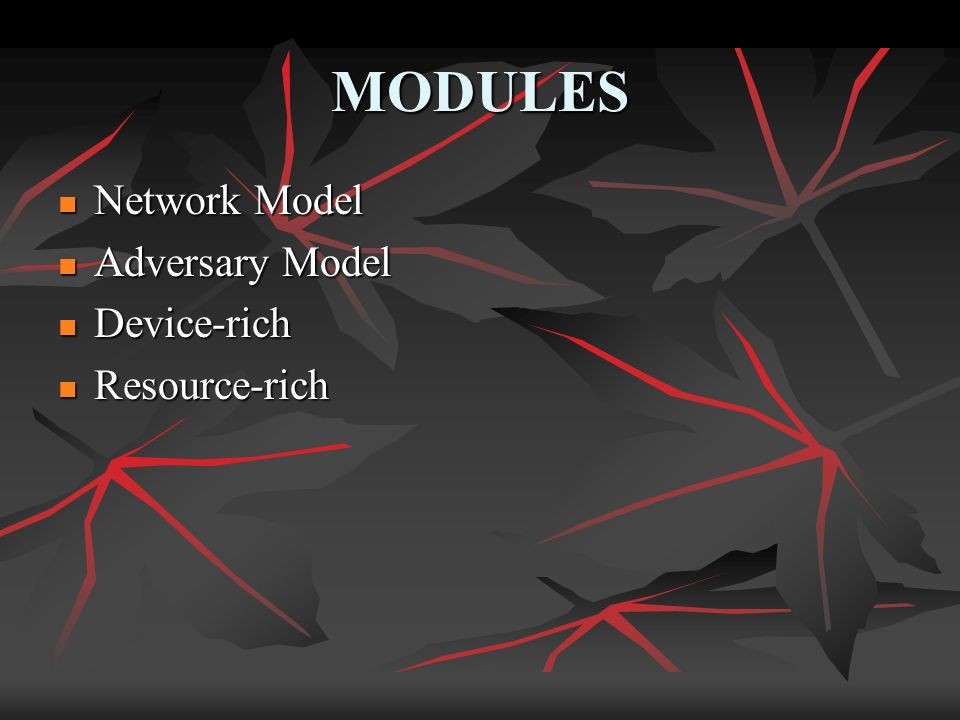 MODULES Network Model Network Model Adversary Model Adversary Model Device-rich Device-rich Resource-rich Resource-rich