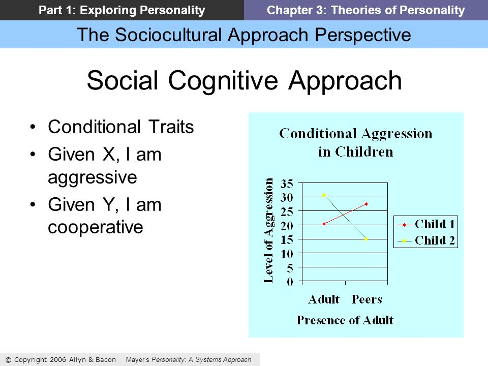 The Sociocultural Approach Perspective © Copyright 2006 Allyn & Bacon Mayers Personality: A Systems Approach Part 1: Exploring PersonalityChapter 3: Theories of Personality Social Cognitive Approach Conditional Traits Given X, I am aggressive Given Y, I am cooperative