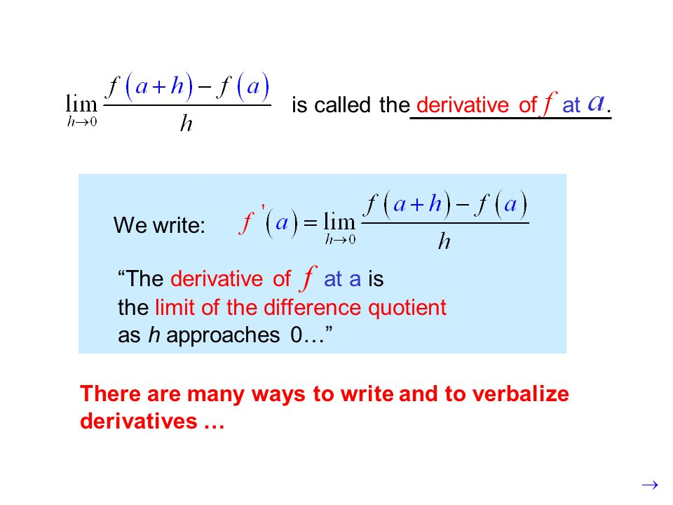 is called the derivative of at.