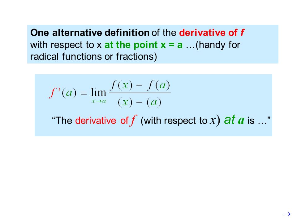 One alternative definition of the derivative of f with respect to x at the point x = a …(handy for radical functions or fractions) The derivative of f (with respect to x) at a is …