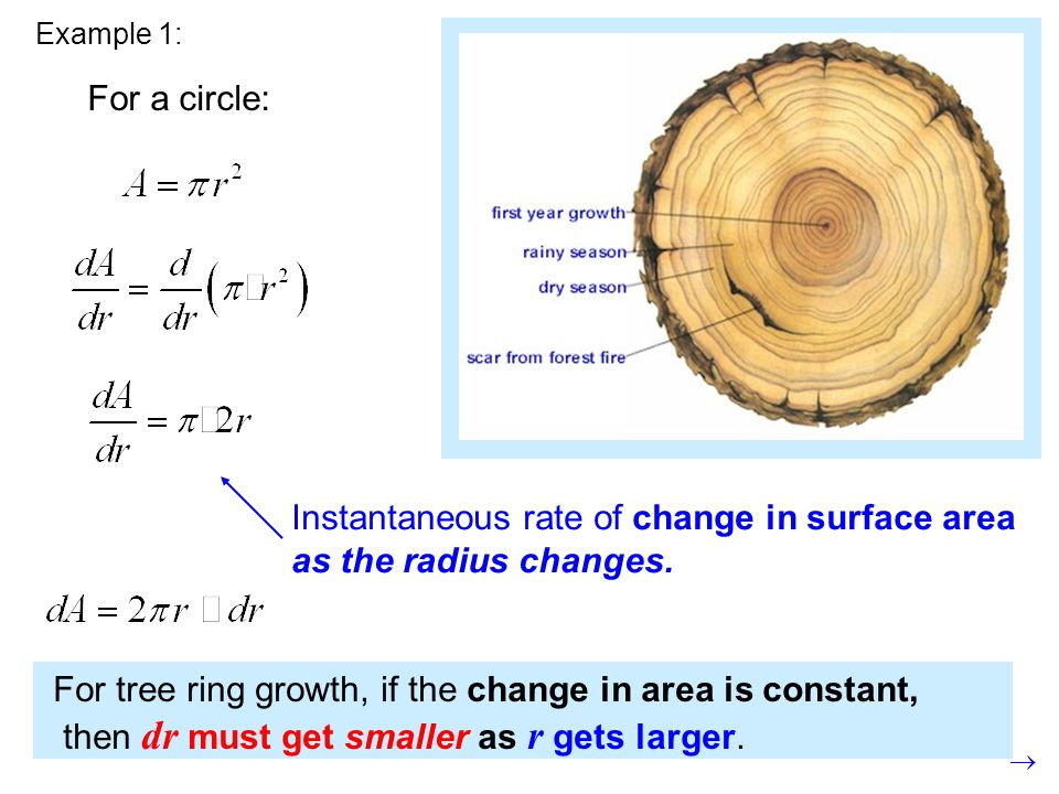 Example 1: For a circle: Instantaneous rate of change in surface area as the radius changes.
