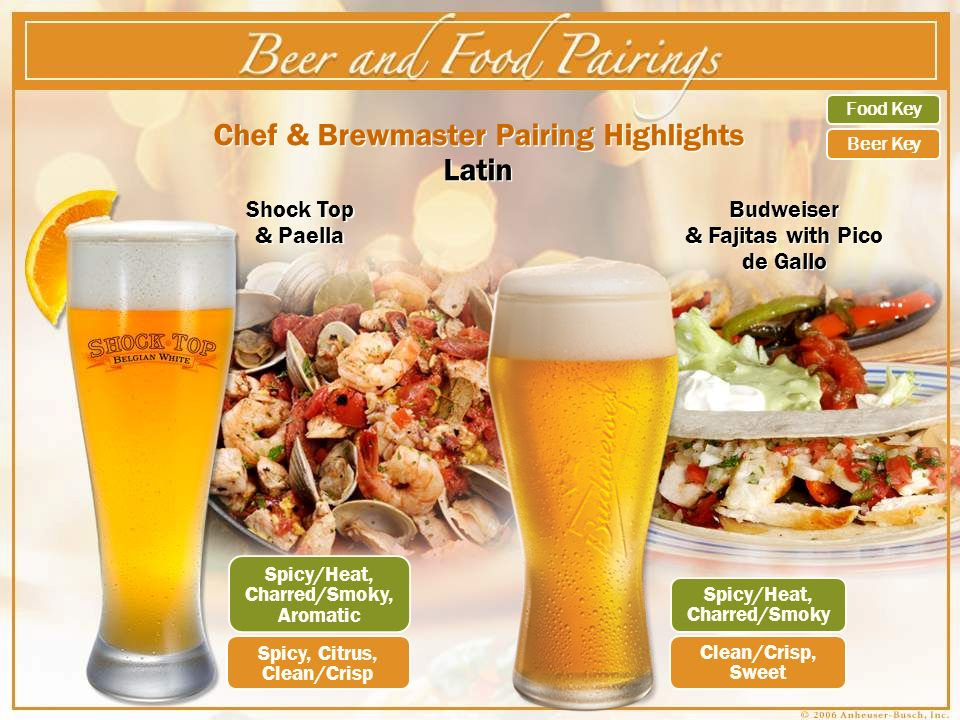 Chef & Brewmaster Pairing Highlights Latin Shock Top & Paella Budweiser & Fajitas with Pico de Gallo Spicy/Heat, Charred/Smoky, Aromatic Spicy, Citrus, Clean/Crisp Spicy/Heat, Charred/Smoky Clean/Crisp, Sweet Food Key Beer Key