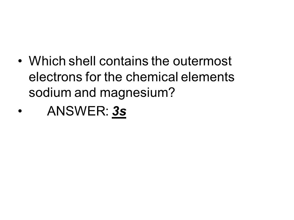 Which shell contains the outermost electrons for the chemical elements sodium and magnesium.