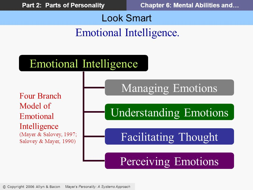 Look Smart © Copyright 2006 Allyn & Bacon Mayers Personality: A Systems Approach Part 2: Parts of PersonalityChapter 6: Mental Abilities and… Emotional Intelligence Managing Emotions Understanding Emotions Facilitating Thought Perceiving Emotions Emotional Intelligence.