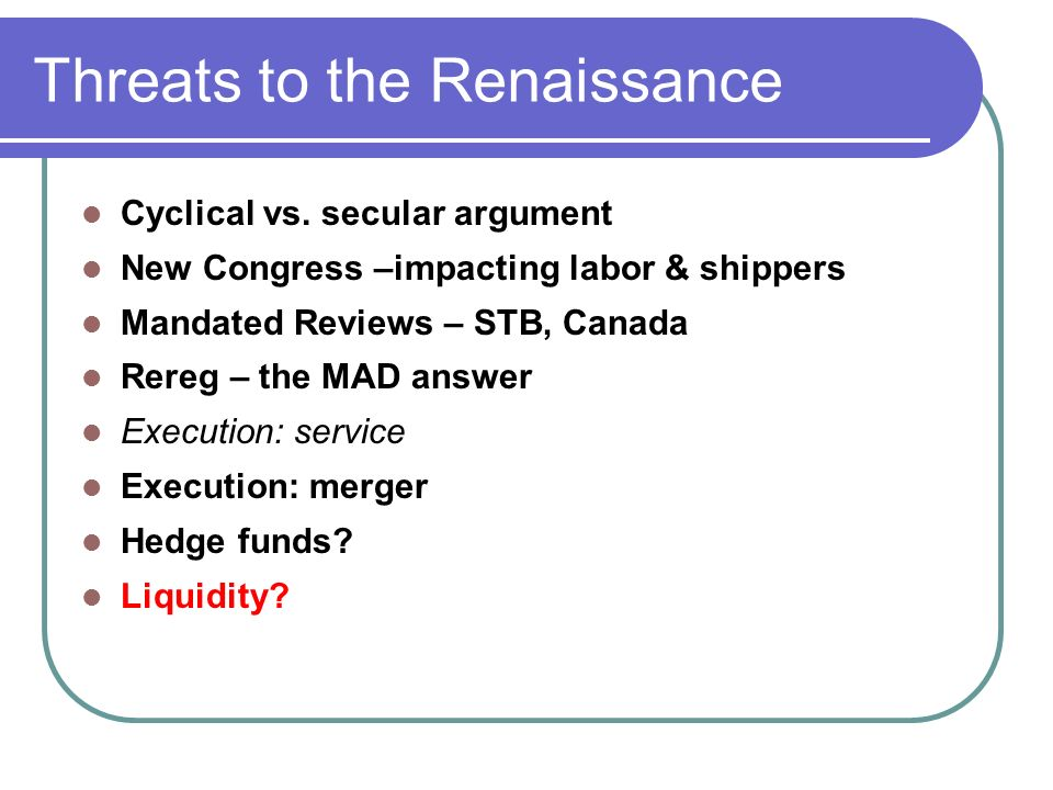 Threats to the Renaissance Cyclical vs.