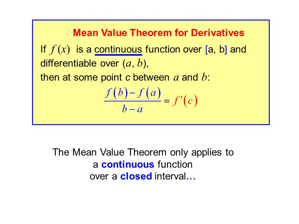 Mean Value Theorem for Derivatives If f (x) is a continuous function over [a, b] and differentiable over ( a, b ), then at some point c between a and b : Mean Value Theorem for Derivatives The Mean Value Theorem only applies to a continuous function over a closed interval…