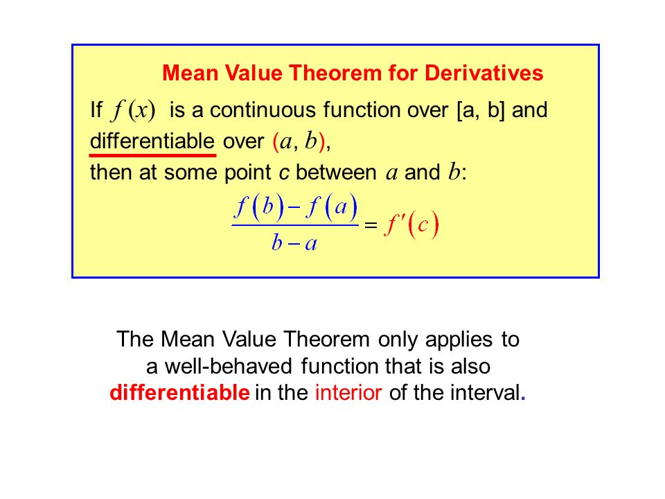 If f (x) is a continuous function over [a, b] and differentiable over ( a, b ), then at some point c between a and b : Mean Value Theorem for Derivatives The Mean Value Theorem only applies to a well-behaved function that is also differentiable in the interior of the interval.