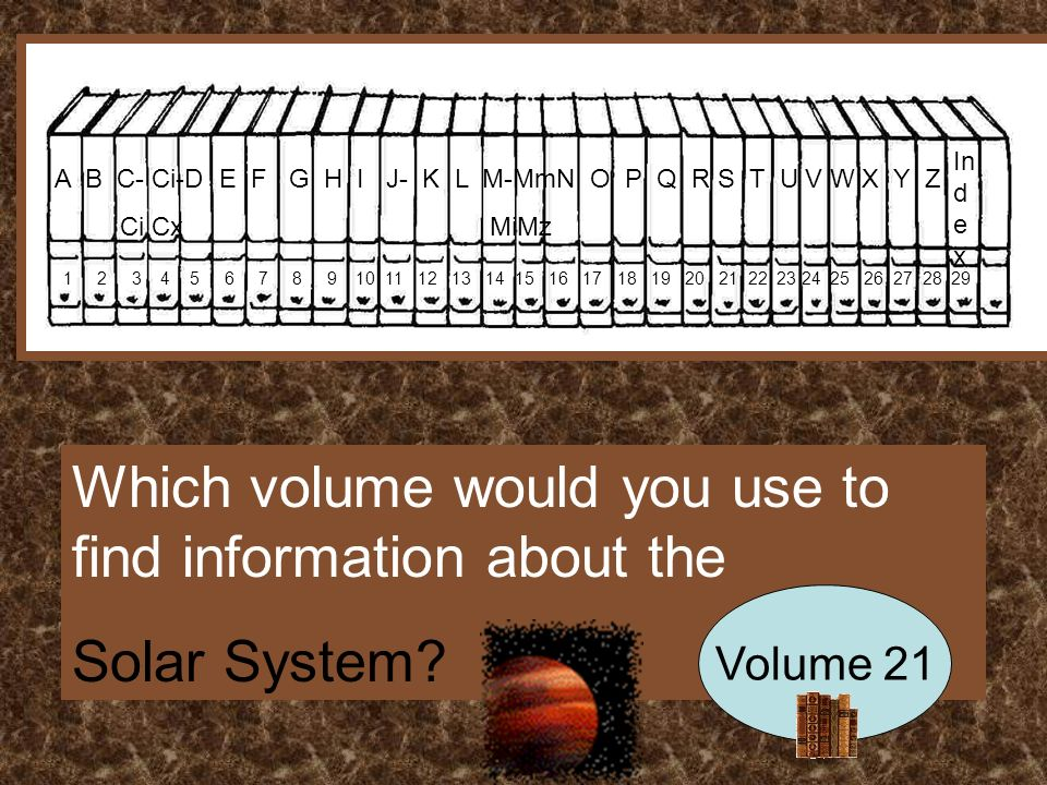 A B C- Ci-D E F G H I J- K L M-MmN O P Q R S T U V W X Y Z Ci Cx MiMz In d e x Which volume would you use to find information about the Solar System.