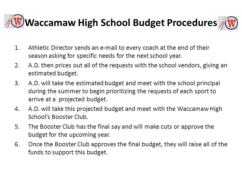 Waccamaw High School Budget Procedures 1.Athletic Director sends an  to every coach at the end of their season asking for specific needs for the next school year.