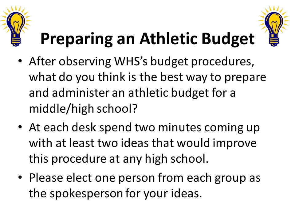 Preparing an Athletic Budget After observing WHSs budget procedures, what do you think is the best way to prepare and administer an athletic budget for a middle/high school.