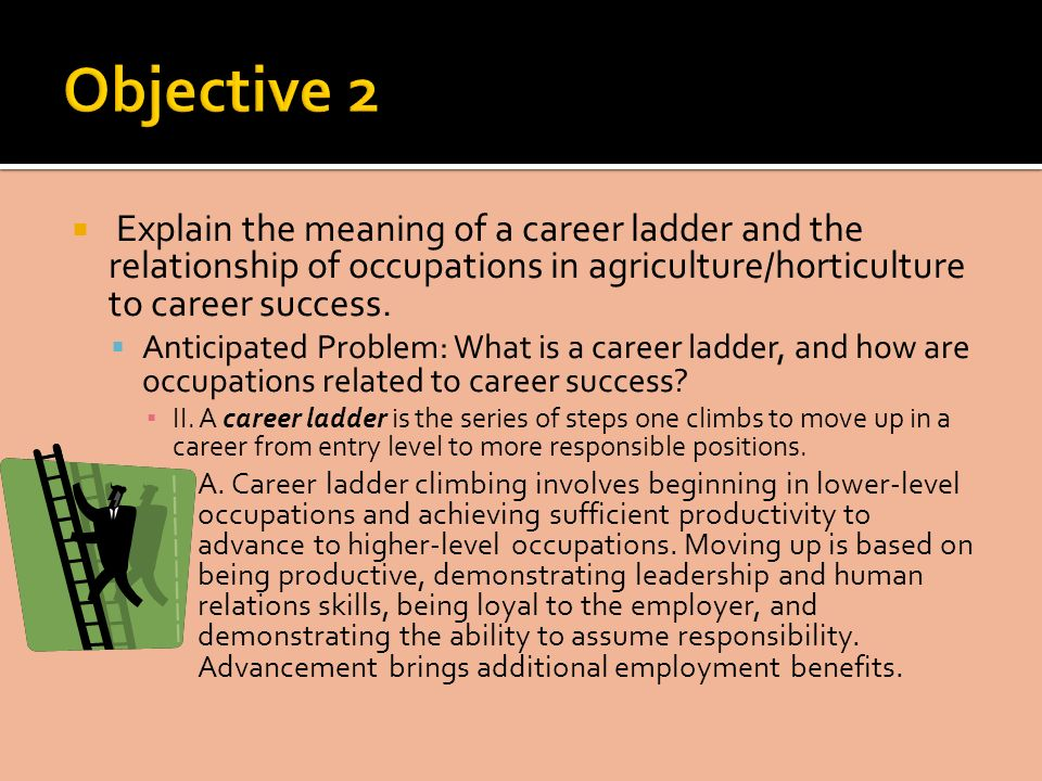 Explain the meaning of a career ladder and the relationship of occupations in agriculture/horticulture to career success.