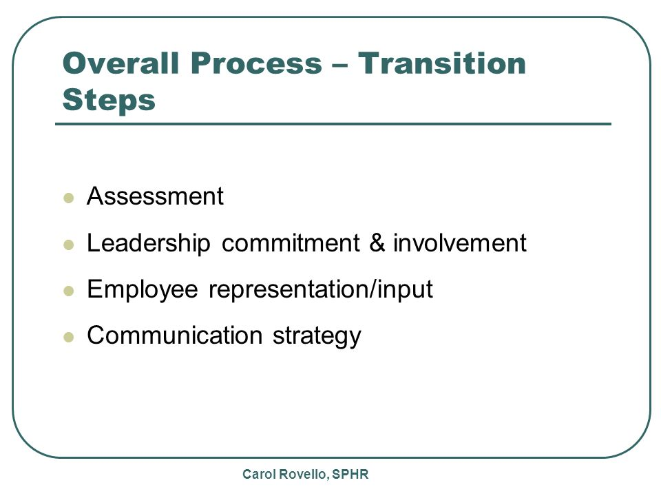 Carol Rovello, SPHR Overall Process – Transition Steps Assessment Leadership commitment & involvement Employee representation/input Communication strategy