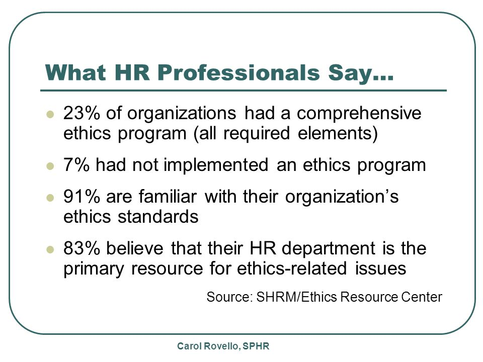 Carol Rovello, SPHR What HR Professionals Say… 23% of organizations had a comprehensive ethics program (all required elements) 7% had not implemented an ethics program 91% are familiar with their organizations ethics standards 83% believe that their HR department is the primary resource for ethics-related issues Source: SHRM/Ethics Resource Center