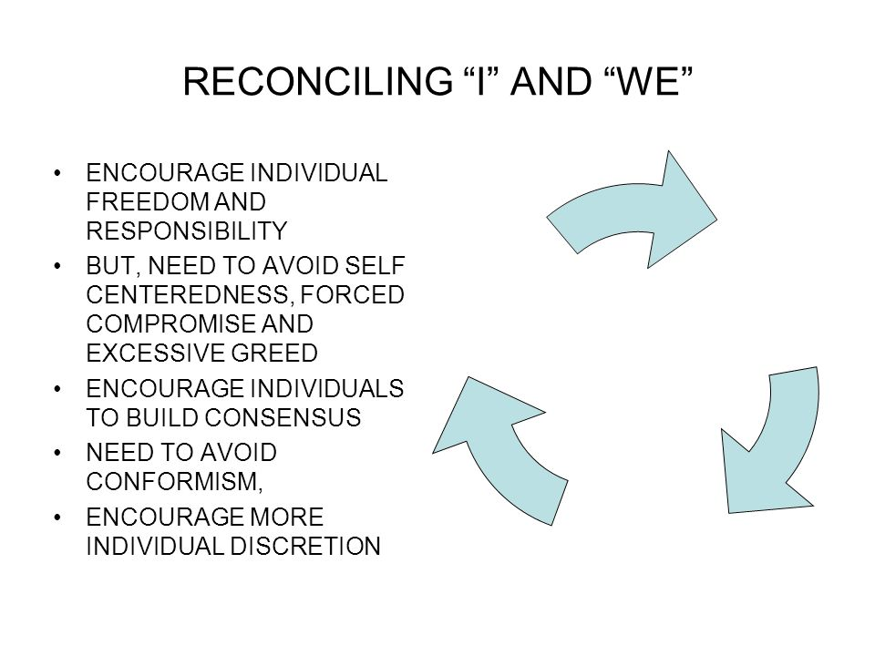 RECONCILING I AND WE ENCOURAGE INDIVIDUAL FREEDOM AND RESPONSIBILITY BUT, NEED TO AVOID SELF CENTEREDNESS, FORCED COMPROMISE AND EXCESSIVE GREED ENCOURAGE INDIVIDUALS TO BUILD CONSENSUS NEED TO AVOID CONFORMISM, ENCOURAGE MORE INDIVIDUAL DISCRETION